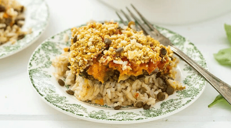 brown rice lentil casserole