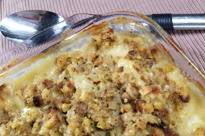 swiss chicken and stuffing casserole